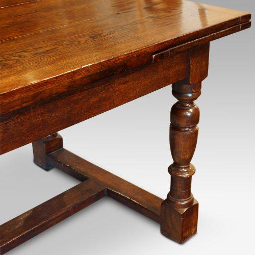 Custom made oak refectory dining table leg