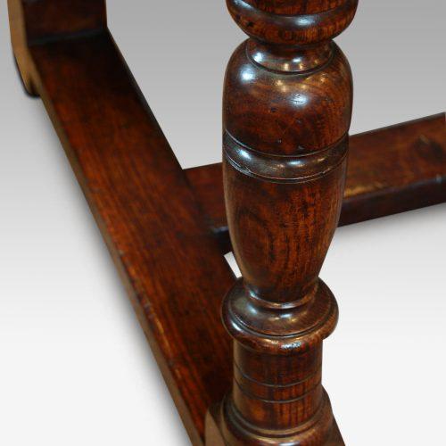 Custom made oak refectory dining table leg detail