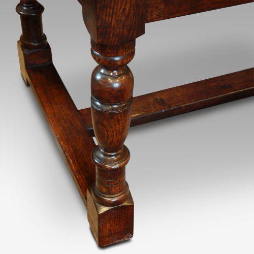 Custom made oak refectory dining table turned leg