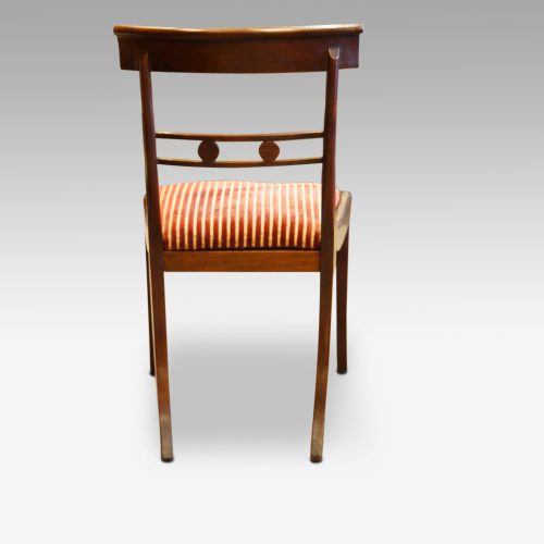 Set of 4 Regency mahogany dining chairs, side chair back side view