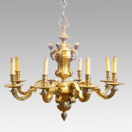 Edwardian brass 8 light chandelier detail