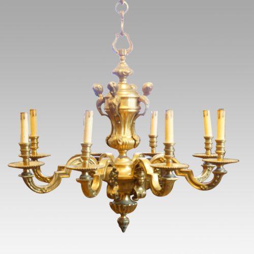 Edwardian brass 8 light chandelier detail
