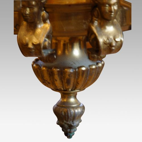 Edwardian brass 8 light chandelier bottom