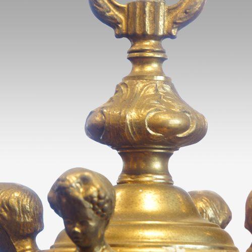 Edwardian brass 8 light chandelier bottom top