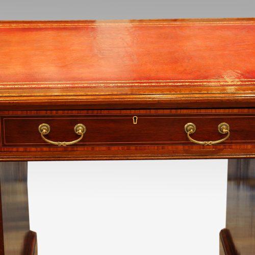 Edwardian inlaid mahogany pedestal desk centre drawer