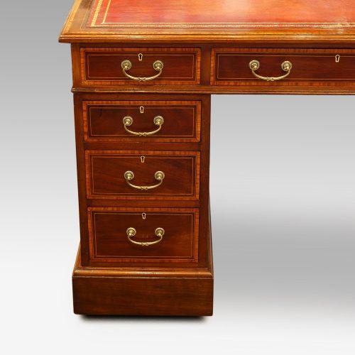 Edwardian inlaid mahogany pedestal desk drawers