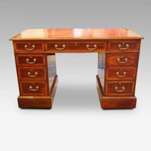 Edwardian inlaid mahogany pedestal desk front