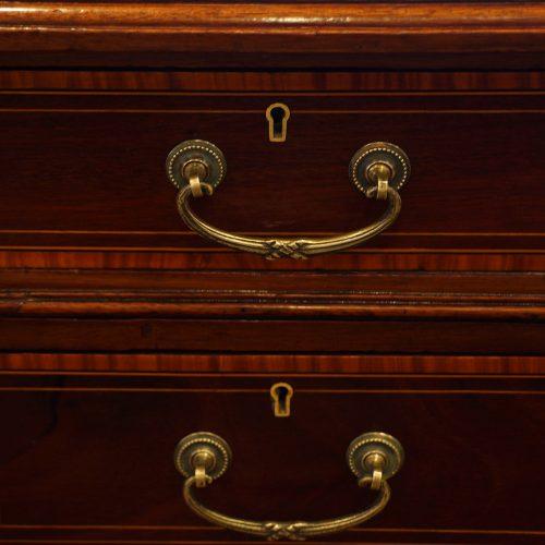 Edwardian inlaid mahogany pedestal desk handles