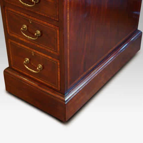 Edwardian inlaid mahogany pedestal desk plinth