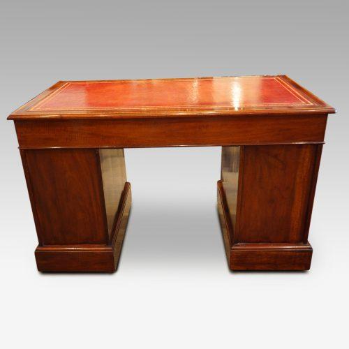 Edwardian inlaid mahogany pedestal desk rear