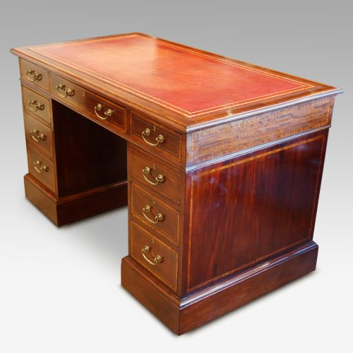 Edwardian inlaid mahogany pedestal desk side