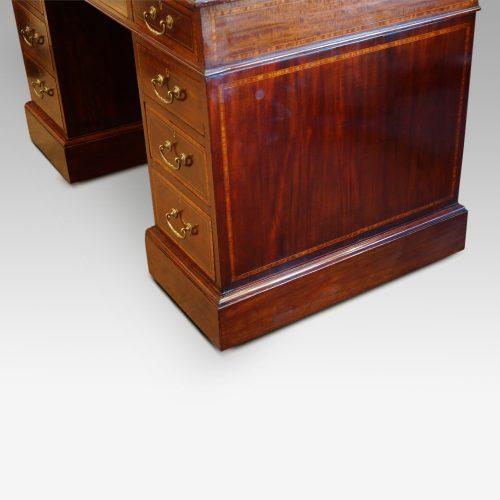 Edwardian inlaid mahogany pedestal desk side base