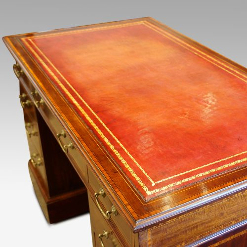 Edwardian inlaid mahogany pedestal desk top