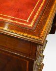 Edwardian inlaid mahogany pedestal desk top detail