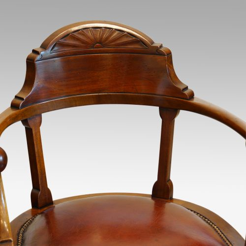 Edwardian mahogany ball arm revolving desk chair back detail