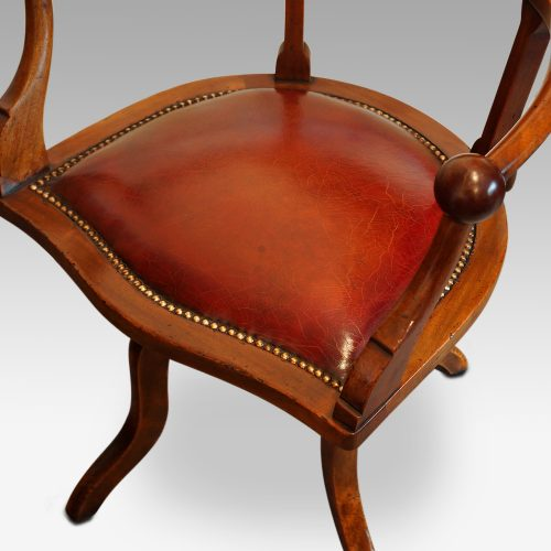 Edwardian mahogany ball arm revolving desk chair seat