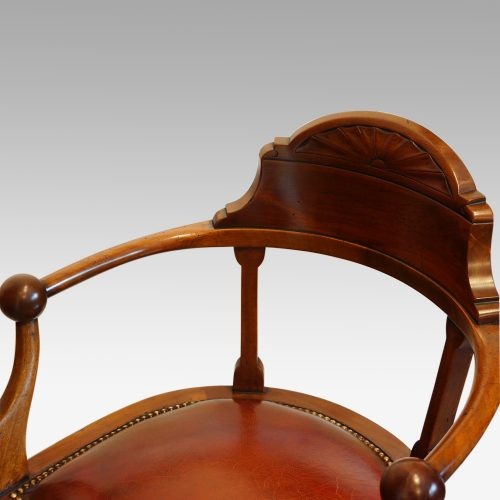 Edwardian mahogany ball arm revolving desk chair seat detail
