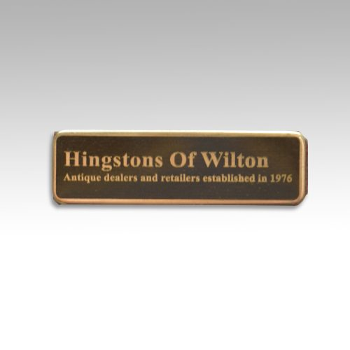 Hingstons Antiques brand guarantee name plate