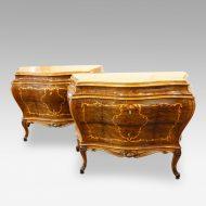 Pair of fine Italian inlaid walnut commodes
