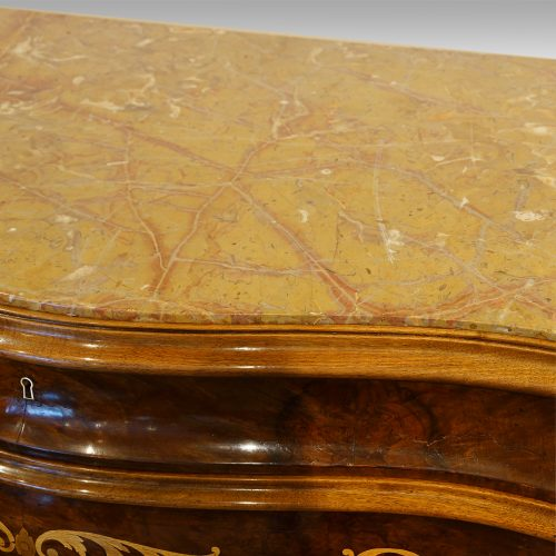 Pair of Italian commodes top detail