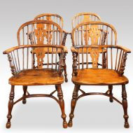 Set of 4 Yew wood Windsor chairs,1