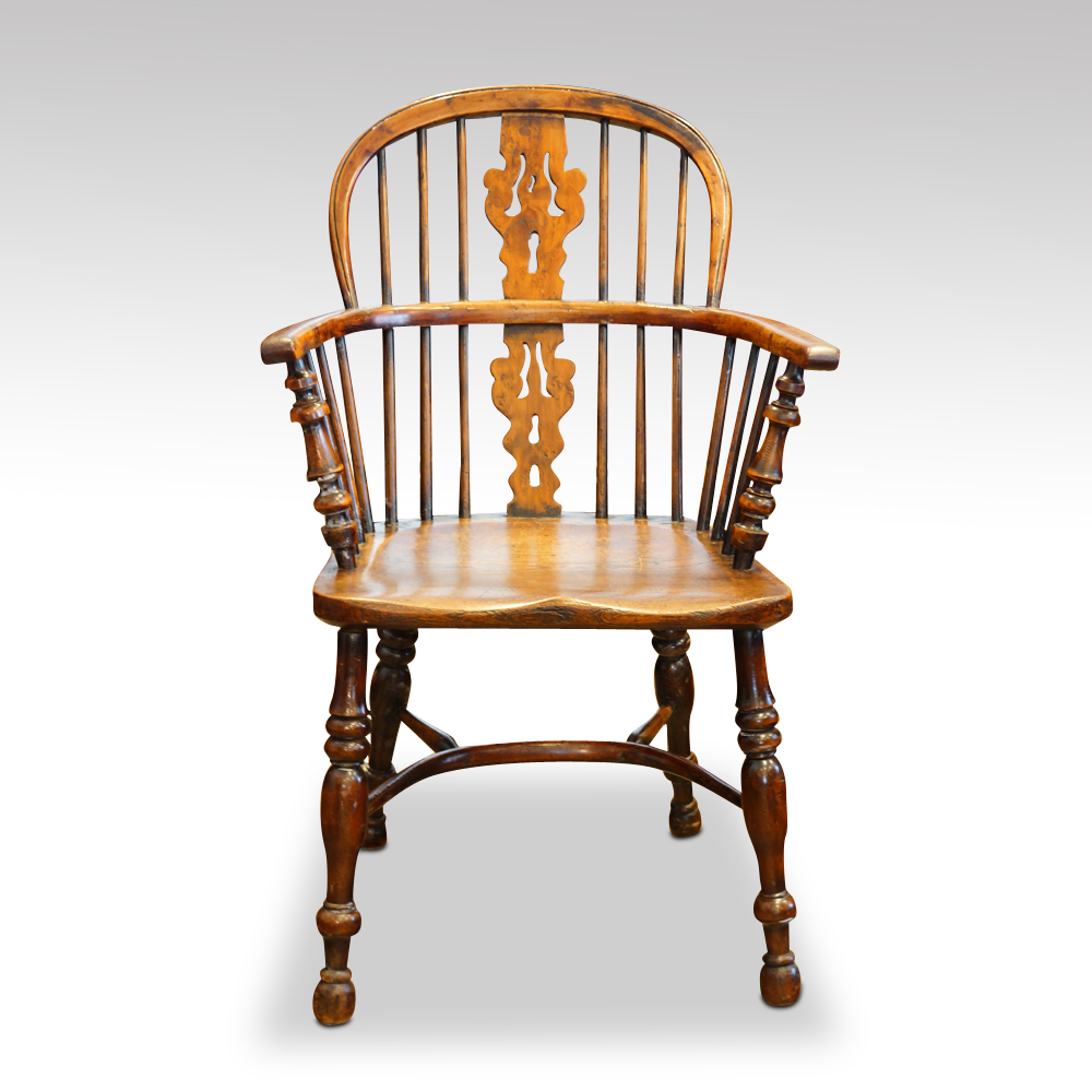 Set Of 4 Antique Yew Wood Windsor Armchairs Hingstons