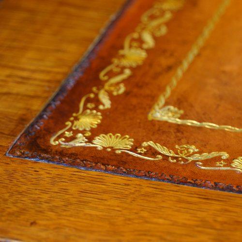 Victorian oak double pedestal desk gilt tooling