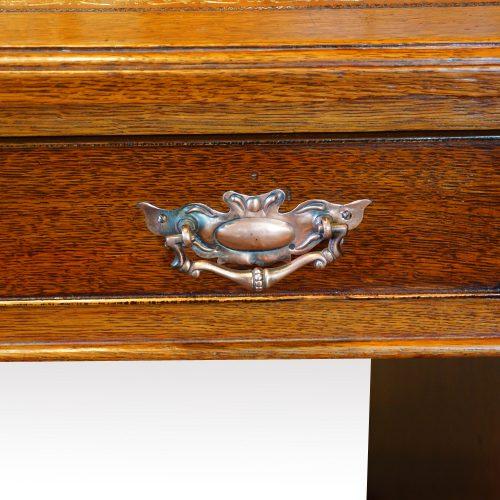 Victorian oak double pedestal desk handle