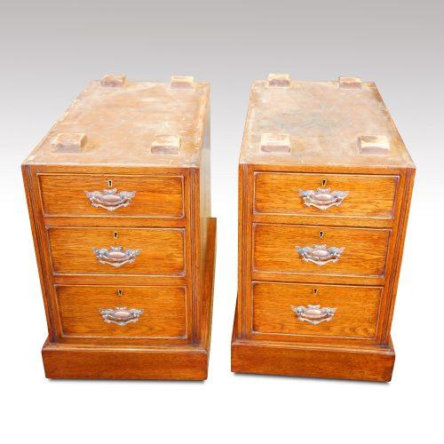 Victorian oak double pedestal desk ready for delivery