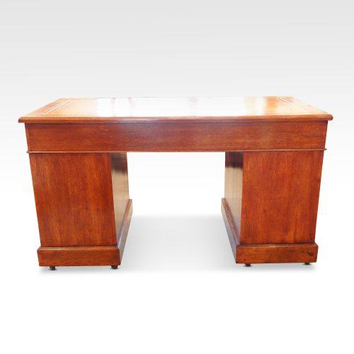 Victorian oak double pedestal desk rear