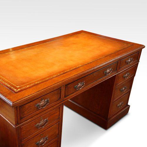 Victorian oak double pedestal desk top