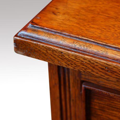 Victorian oak double pedestal desk top edge
