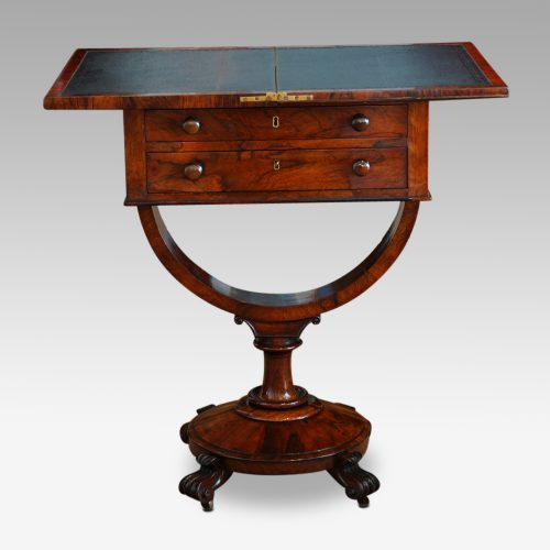 William IV work and card table open