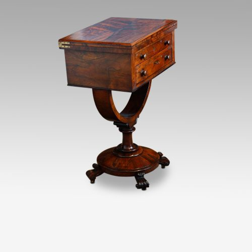 William IV work and card table side