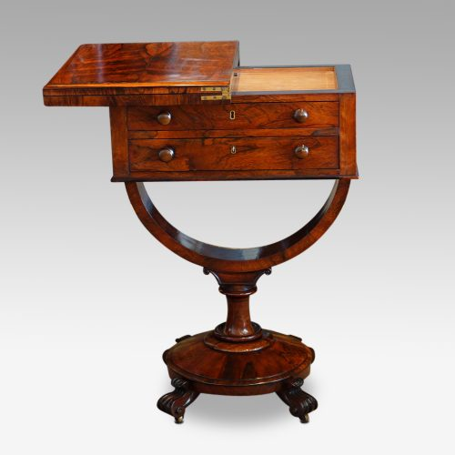 William IV work and card table top swivelled