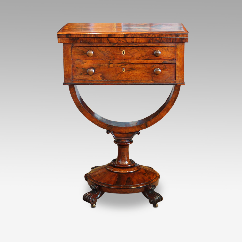 William Iv Rosewood Work And Card Table Hingstons Antiques Dealers
