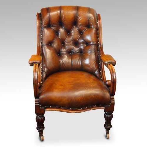 19thc. button back leather reading chair