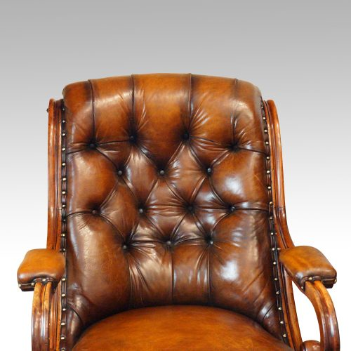 19thc. button back leather reading chair back detail