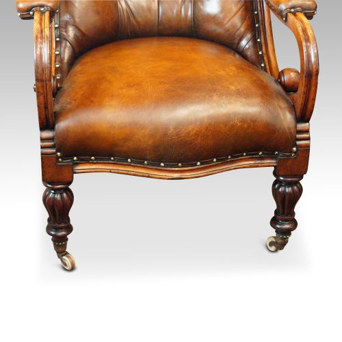19thc. button back leather reading chair front seat