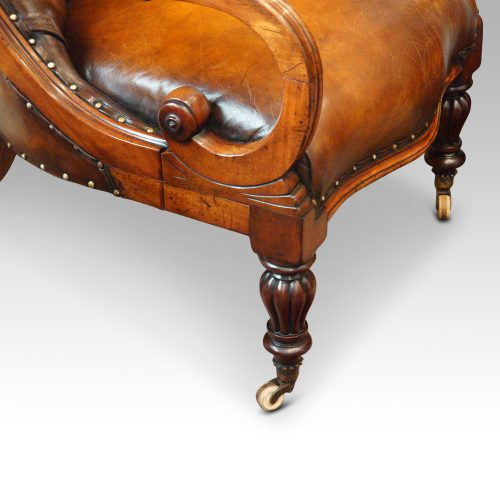 19thc. button back leather reading chair scroll arms