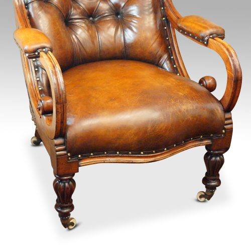 19thc. button back leather reading chair seat and arms