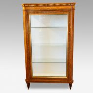 Continental amboyna inlaid display cabinet