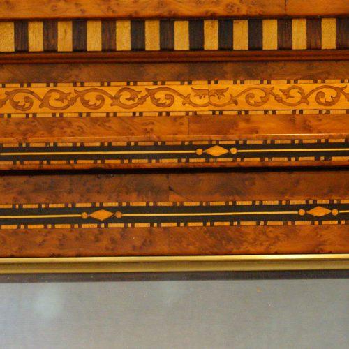 Continental amboyna inlaid display cabinet frieze