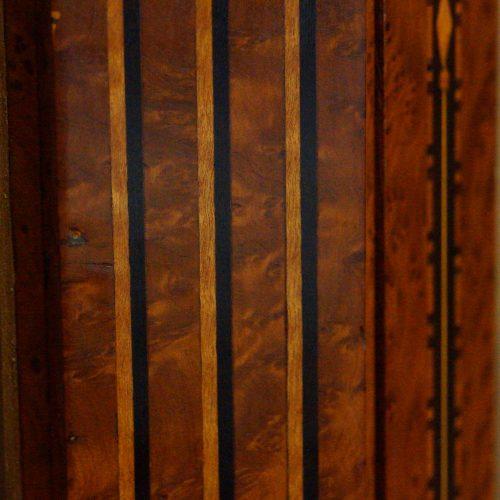 Continental amboyna inlaid display cabinet inlay detail