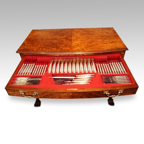 1930's walnut table canteen of cutlery drawers closed top detail top view top drawer