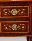 Edwardian inlaid writing table drawer detail