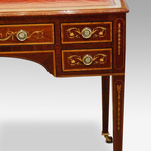 Edwardian inlaid writing table drawer front