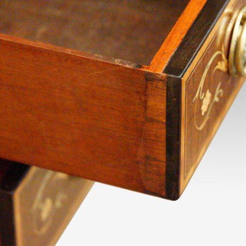 Edwardian inlaid writing table drawer lining