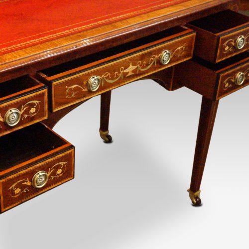Edwardian inlaid writing table drawers