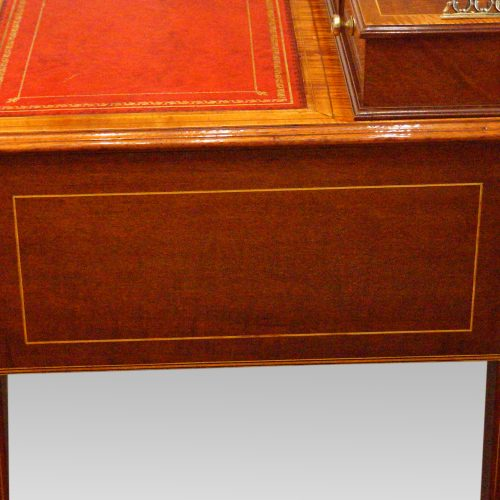 Edwardian inlaid writing table side view
